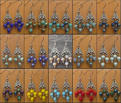 Beautiful Opaque Colors Small Chandelier Dangle Earrings Victorian Vintage Style