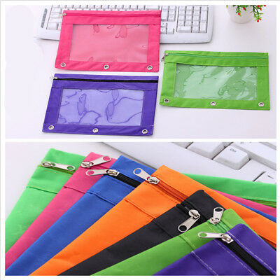 Zippered Binder School Pencil Case 3 Ring Pencil Pouch with Rivet Enforced Hole