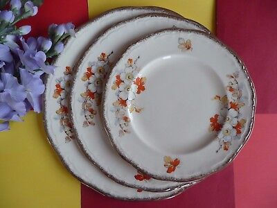 "Art Deco / Vintage Alfred Meakin 1930's SET OF THREE ""Marigold""  Marquis Plates"
