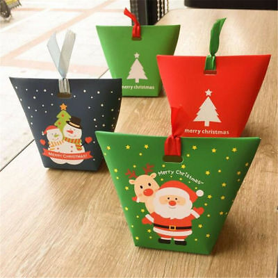 5PCS Christmas Paper Gift Bags Xmas Candy Carrier Present Boxes Without Ribbons