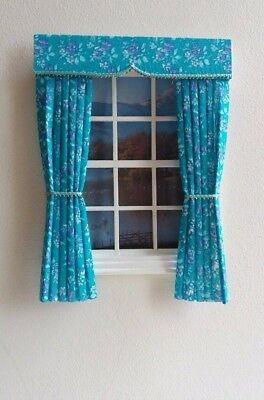 Dolls House Curtains Turquoise Floral In Laura Ashley Fabric