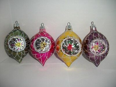 4 Vintage Commodore Teardrop Indent Mica Bell Stenciled Christmas Ornament
