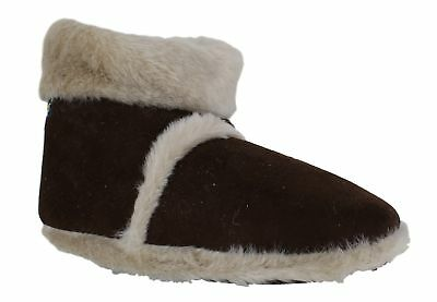 Coolers Boys Girls Furry Lined Ankle Boots Bootees Snugg Dark Brown Slippers
