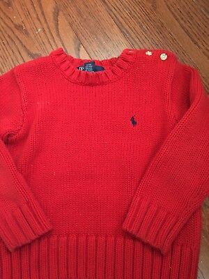 4/4T Polo by Ralph Lauren...100% Cotton Crew Neck Sweater-Red