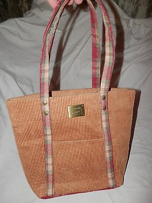 Longaberger purse tan brown corduroy red plaid