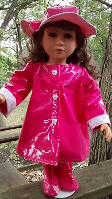 pink raincoat and hat fits 23 inch My Twinn doll handmade and new