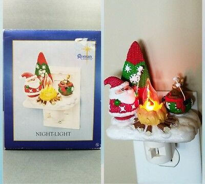 Santa & reindeer Roasting Marshmallows by Campfire Christmas Flicker Night Light