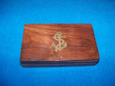 Antique Maritime Marine Nautical Ships Jewelry Trinket Box Inlay Brass Anchor