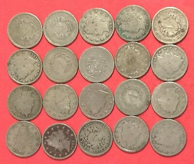 """1800s-1900s US LIBERTY """"V Nickels Set of 20 Assorted Coins!"""