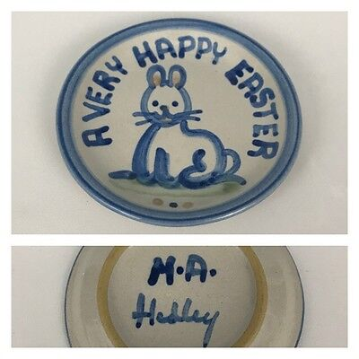 "M.A. Hadley A VERY HAPPY EASTER 4 1/4"" Coaster Trinket Dish Pottery Blue Bunny"