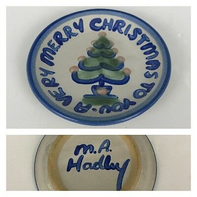 "M.A. Hadley A VERY MERRY CHRISTMAS TO YOU 4 1/4"" Coaster Trinket Dish Pottery"
