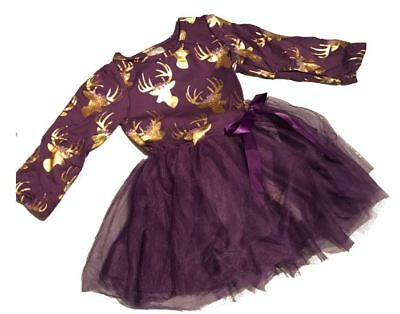 NWT Luxe Lou boutique FALL purple deer antler tulle dress, sparkle gold