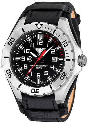 KHS Tactical Watches Swiss Movement C1-Light Rotating Bezel Leather G-Pad Band