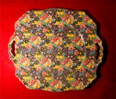 Vintage Royal Winton Grimwades *hazel* Chintz Handled Cake Plate Made In England