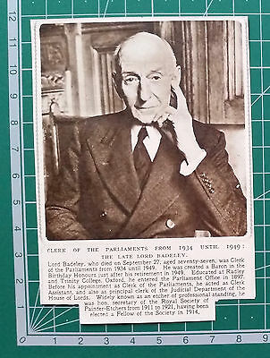 (2266) Lord Badeley Clerk of the Parliaments Etcher Obituary  - 1951 Clip