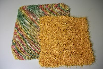 handcrafted tropical variegated dish cloth & gold scrubby