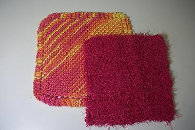 handcrafted pink, yellow,orange variegated dish cloth & pink scrubby