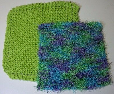 handcrafted lime dish cloth & lime,turquoise,purple variegated scrubby