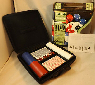 The Professional Players Poker Set 100 Chips 2 Decks Of Cards 5 Dice & A Case