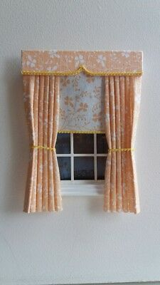 Dolls House Curtains Cream & Peach With Blind In Laura Ashley Fabric
