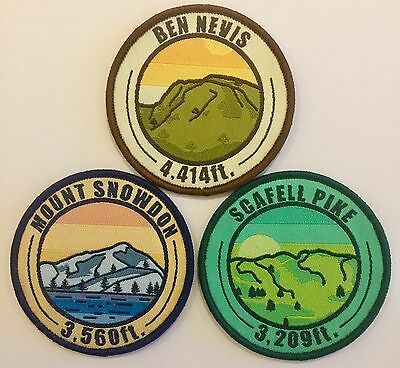Three Peaks Challenge - Woven Patch Badge - Scafell Pike, Snowdon, Ben Nevis