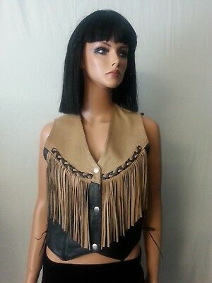VTG MOB 80 90s Leather Vest Black/Brown Tan Southwest Fringed Conchos Snaps S