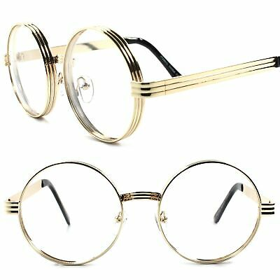 Vintage Style Funky Steampunk Mens Womens Round Circle Clear Lens Gold Glasses