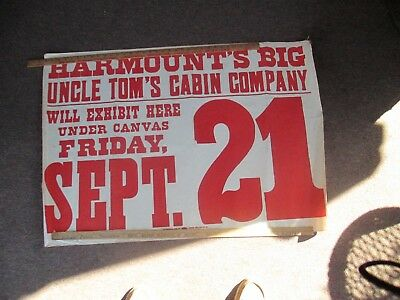 Historic Uncle Tom's Cabin Harmount's Traveling Circus Play Canvas Sign Ohio