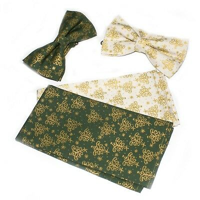 Mens Christmas Gold Green Beige Pre Tied Bow Tie Hanky Pocket Square CH007