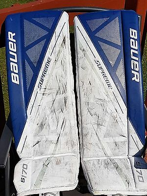 Bauer Supreme S170 Goalie Pads, Size Junior Medium Which Is Equivalent To 28+1