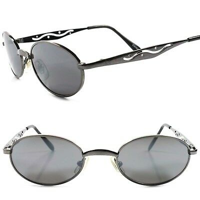 a30611757373 True Vintage 80s 90s Mens Womens Indie Hip Style Gunmetal Round Oval  Sunglasses