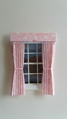 Dolls House Curtains Pink & Cream Floral Made In Laura Ashley Fabric