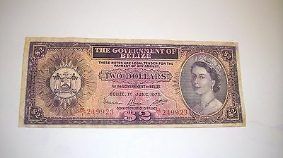 BELIZE $2 DOLLARS  1975 F  Queen Elizabeth