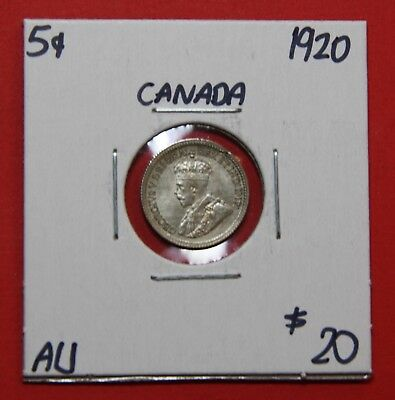 1920 Canada Silver Five 5 Cent Coin H19 - $20 AU