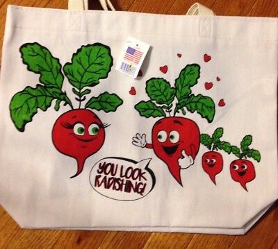 "Canvas Reusable Shopping Bag Tote "" You Look Radishing"" 14"" X 17"""