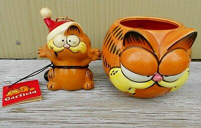 Vintage Garfield Lot Porcelain Christmasornament Enesco & Porcelain Mug 1978
