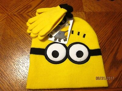 new BOYS 2 pc. HAT & GLOVE SET toddler yellow EYES black warm MINIONS winter