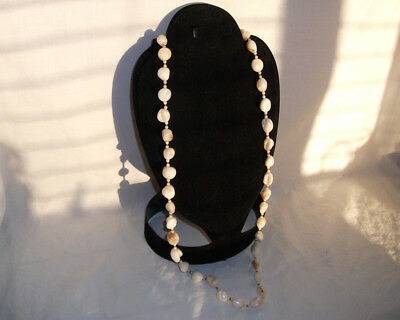 """34"""" Vtg Antique Very Large Mother of Pearl Nugget Bead Necklace Balamuti ?"""