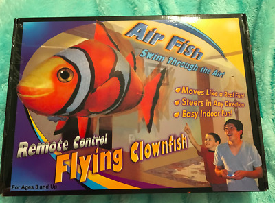 Inflatable Flying Fish Air Swimmer Clownfish Blimp Balloon Toy w Remote Control