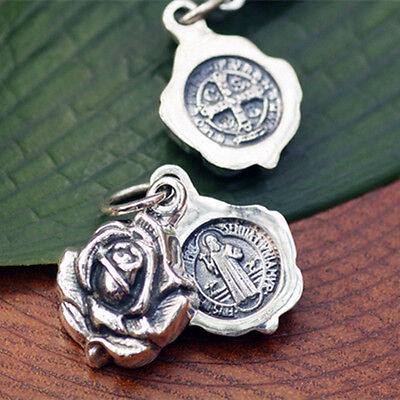 S925 Sterling Silver ST.BENEDICT Rose Open box Medal Pendant /locket/Rosary GIFT