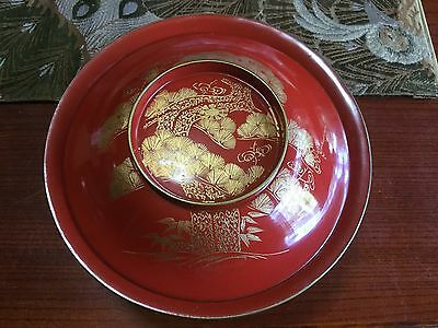Japanese '50s vintage large WAN meal bowl, vermillion red w/Gold MAKIE- 18cm dia