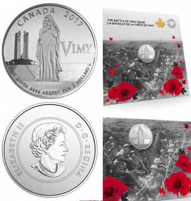 2017 Battle of Vimy Ridge 100th Anniversary Remembrance $3 Pure Silver 27mm Coin