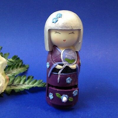 Kokeshi Doll - 13cm Figurine in Purple Kimono - Trinket Box - Resin Ornament