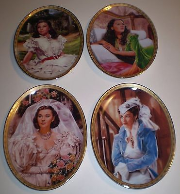 Lot of 4 RARE Bradford Gone With the Wind Cameo Memories Plates Pearls & Promise