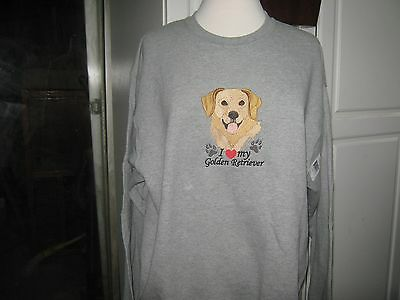 New I Love My Golden Retriever  Embroidered Sweatshirt Add Name For Free