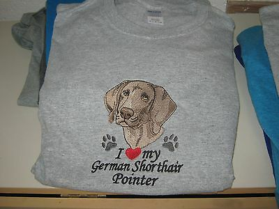 New I Love My German Shorthair Pointer Embroidered T-Shirt Add Name For Free