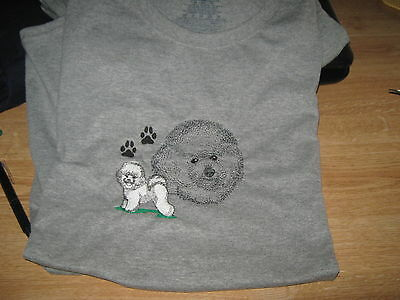 New Bichon Frise Dog Scene Embroidered T-Shirt Add Name For Free