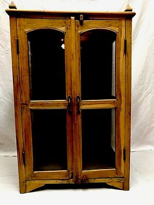 Antique ~ Reclaimed Antique Teakwood 2 Door Display Glass Front Cabinet
