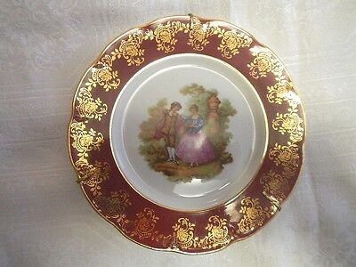 """Limoges France 7.5"""" Plate with Courting Couple Across w/Stand"""