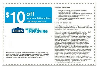 Three(3x) Lowes $10 Off $50 Coupon(Instore & Online) Exp 10/31 lnstant Delivry